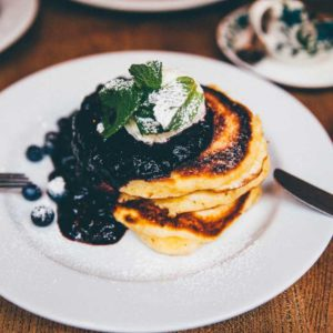 Spicy Wild Blueberry Fruit Salsa Poured Over Homemade Sweet Pancakes - Critter Cookbook